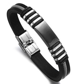 Ericdress Black Stripe Silicone Bracelet For Men