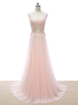 Ericdress Scoop Neck Appliques Beading Pink Prom Dress