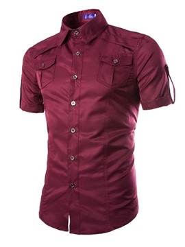 Ericdress Plain Short Sleeve Summer Men's Shirt