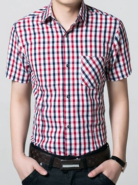 Ericdress Plaid Short Sleeve Men's Shirt