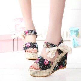 Ericdress Floral Print Bowknot Wedge Sandals