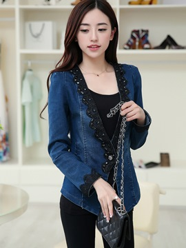 Ericdress Lace Patchwork One Button Denim Outerwear