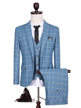 Ericdress Three-Piece Blue Plaid Elegant Men's Suit