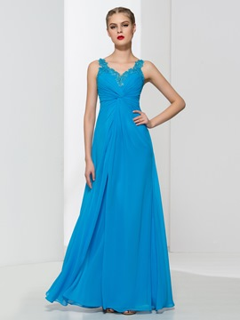 Ericdress Straps Appliques Pleats Long Prom Dress