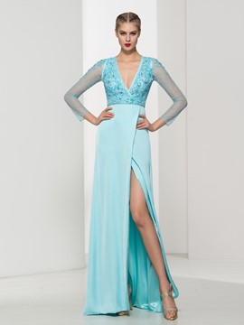 Ericdress V-Neck Split-Front Open Back Beading Lace Evening Dress
