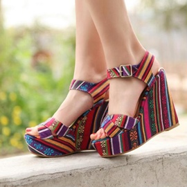 Ericdress Ethnic Colorful Strips Wedge Sandals