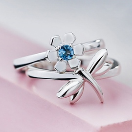 Ericdress City Garden Dragonfly Silver Ring