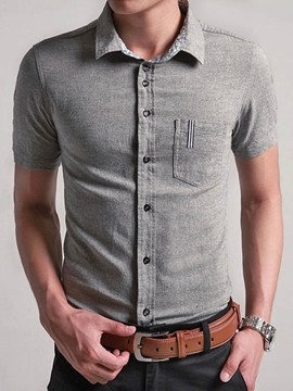 Ericdress Pocket Design Slim Short Sleeve Men's Shirt