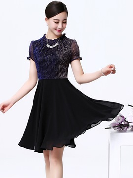 Ericdress Chiffon Patchwork Short Sleeve Casual Dress