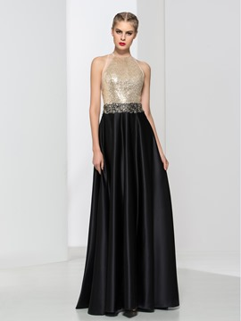 Ericdress A-Line Beading Sequins Open Back Evening Dress