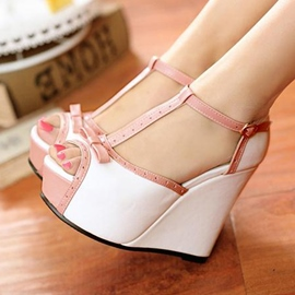 Ericdress Patchwork T Strap Wedge Sandals with Bowtie