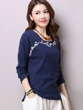 Ericdress Asymmetric Embroidery T-Shirt