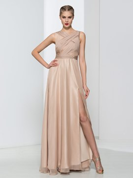 Ericdress A-Line Pleats Split-Front Hollow Evening Dress