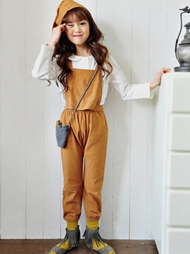 Ericdress Plain Casual Girls Suspender Pants