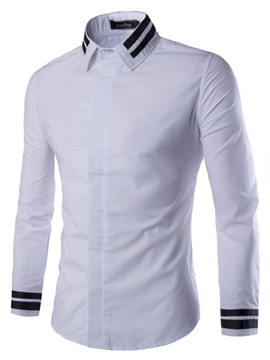 Ericdress Stripe Hem Slimming Long Sleeve Men's Shirt