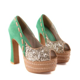 Ericdress Sequins Patchwork Peep Toe Stiletto Sandals