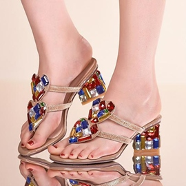 Ericdress Colored Diamond Chunky Sandals