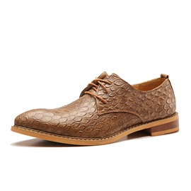 Ericdress Croco Point Toe Square Men's Oxfords