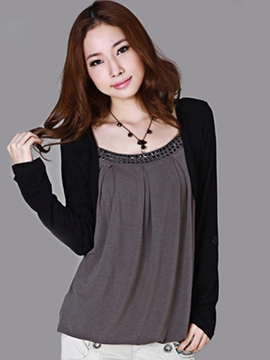 Ericdress Color Block Casual Plus Size T-Shirt