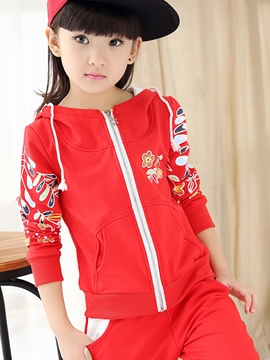 Ericdress Print Zipper Girls Outfit