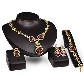 Ericdress Celebrity Twisted Crystal Jewelry Set-Red