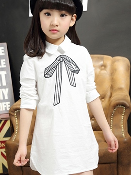 Ericdress Lapel Mid-Length Girls Shirt