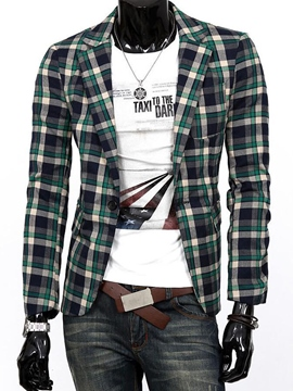 Ericdress Thin Plaid Slim Casual Men's Blazer