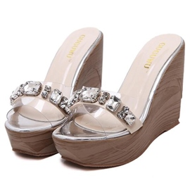 Ericdress Rhinestone Wedge Slippers
