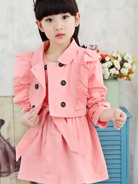 Ericdress Plain Pleated Girls Outfit