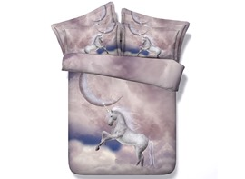 Ericdress White Horse Watching Moon Print 3D Bedding Sets
