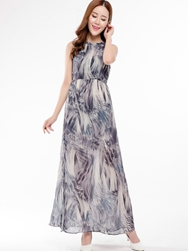 ericdress Elegant Print Long Dress