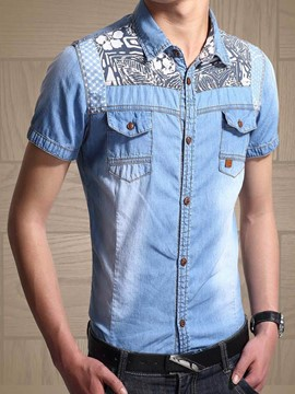 Ericdress Plus Size Short Sleeve Denim Men's Shirt