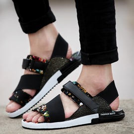 Ericdress Floral Buckle Flat Heel Men's Sandals