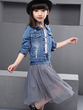 Ericdress Denim Jacket and Mesh Skirt Girls Outfit