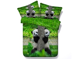 Ericdress Two Pandas Playing Around Tree Print 3D Bedding Sets
