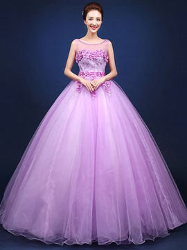 Ericdress Flowers Lace Beading Lace-up Floor Length Ball Gown Quinceanera Dress