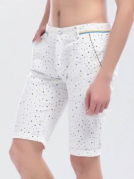 Ericdress Polka Dots Straight Slim Men's Shorts
