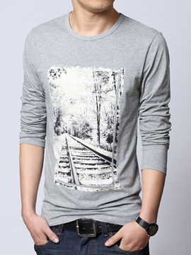 Ericdress Cotton Blends Print Long Sleeve Men's T-Shirt