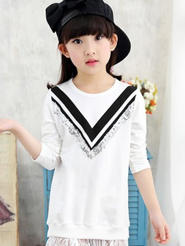 Ericdress Sequins Stripe Girls T-Shirt