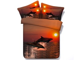 Ericdress Dolphin Dancing Under Sunset Print 3D Bedding Sets
