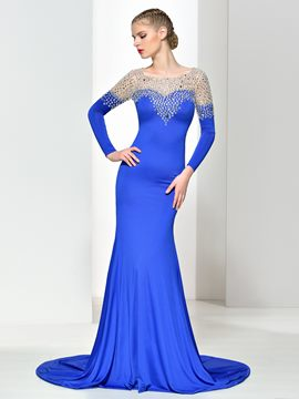 Ericdress Long Sleeves Beading Backless Mermaid Evening Dress