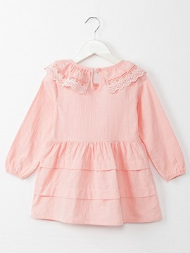 Ericdress Plain Pleated Long Sleeve Girls Dress