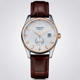 Circular Dial Leather Strap Watch