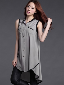 Ericdress Color Block Sleeveless Blouse