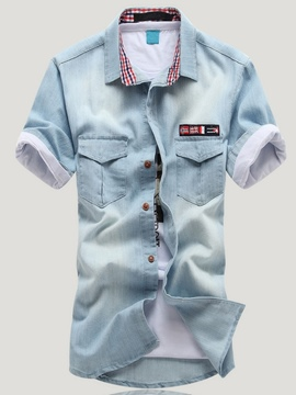Ericdress Patchwork Short Sleeve Denim Men's Shirt