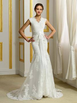Ericdress Charming V Neck Sleeveless Mermaid Wedding Dress