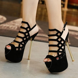 Ericdress European Suede Cut Out Stiletto Sandals