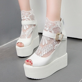 Ericdress Lace Buckles Decorated Wedge Sandals
