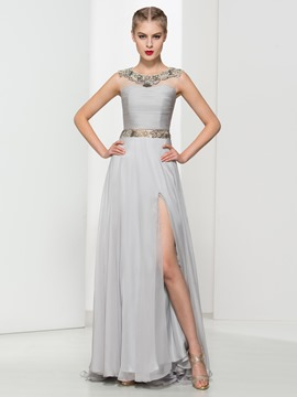 Ericdress Jewel Neck Beaded Pleats Split-Front Evening Dress