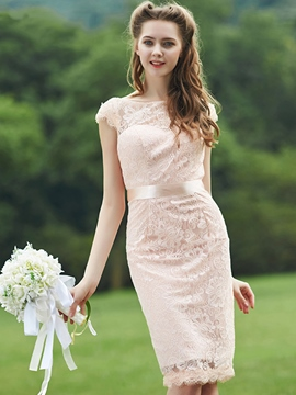 Ericdress Beautiful Sheath Knee Length Lace Bridesmaid Dress